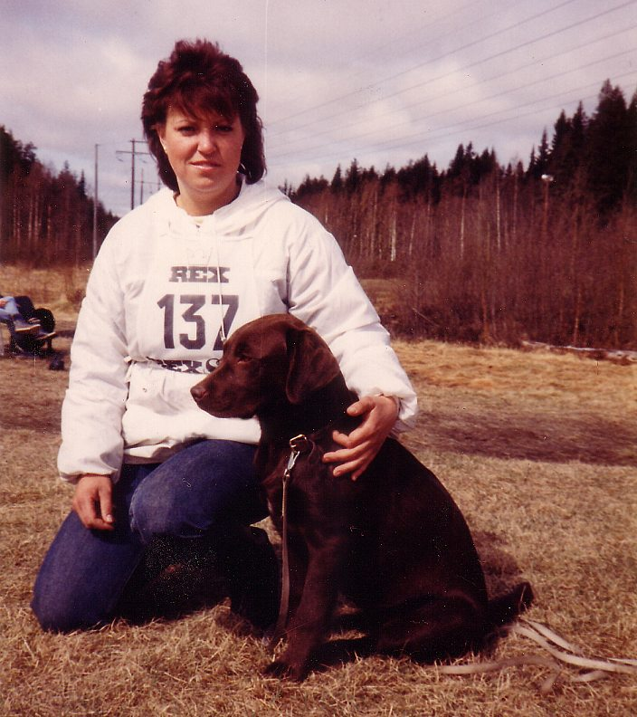 Me and Pam on obedience competition back in -85